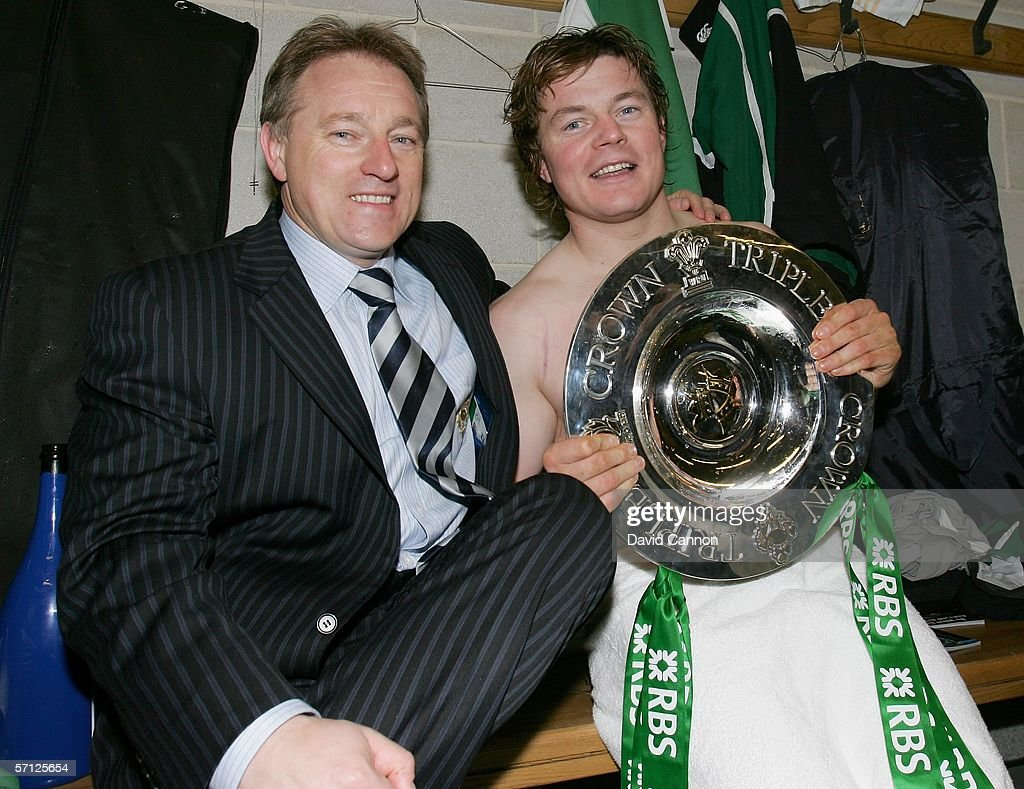 Ireland Coach Eddie O'Sullivan and Ireland Captain Brian O'Driscoll pose with the Triple Crown following their victory in the RBS Six Nations match...