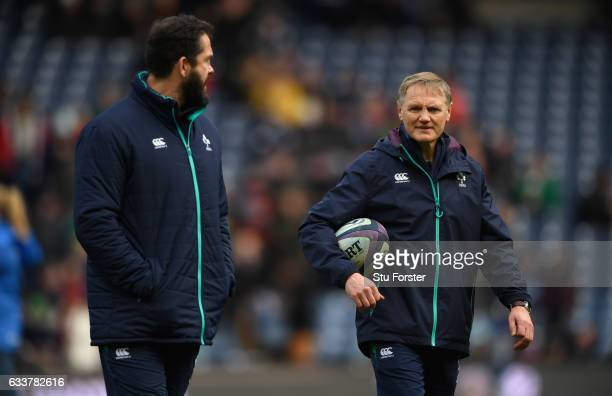 Ireland coach Joe Schmidt and Andy Farrell chat before the RBS Six Nations match between Scotland and Ireland at Murrayfield Stadium on February 4...