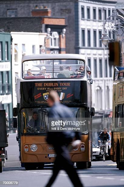 Ireland, County Dublin, Dublin, tour bus in traffic
