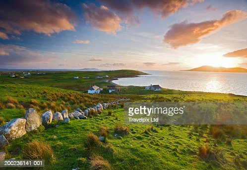 Ireland, County Mayo, Clare Island, sunset