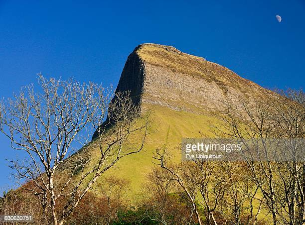 Ireland County Sligo View of Ben Bulben mountain from Gortarowey scenic walk