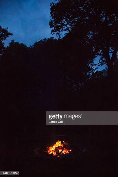 Ireland, County Westmeath, Campfire at night