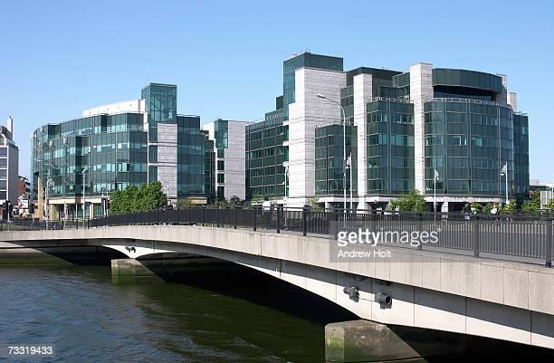 Ireland, Dublin, Matt Talbot Bridge and terraced suburban housing
