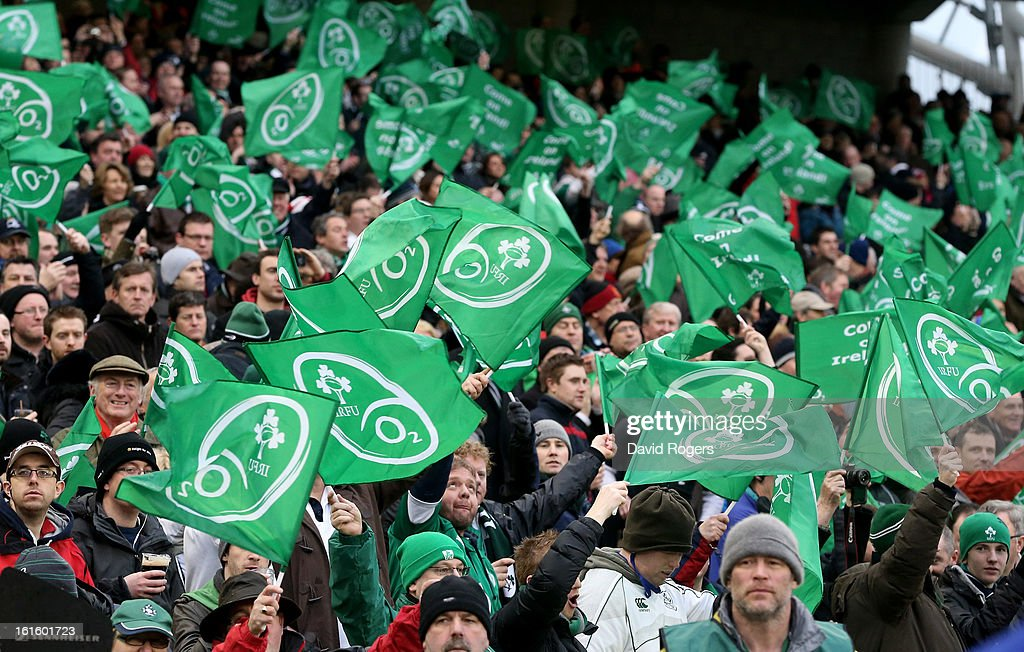 Ireland fans cheer on their team during the RBS Six Nations match between Ireland and England at Aviva Stadium on February 10, 2013 in Dublin, Ireland.