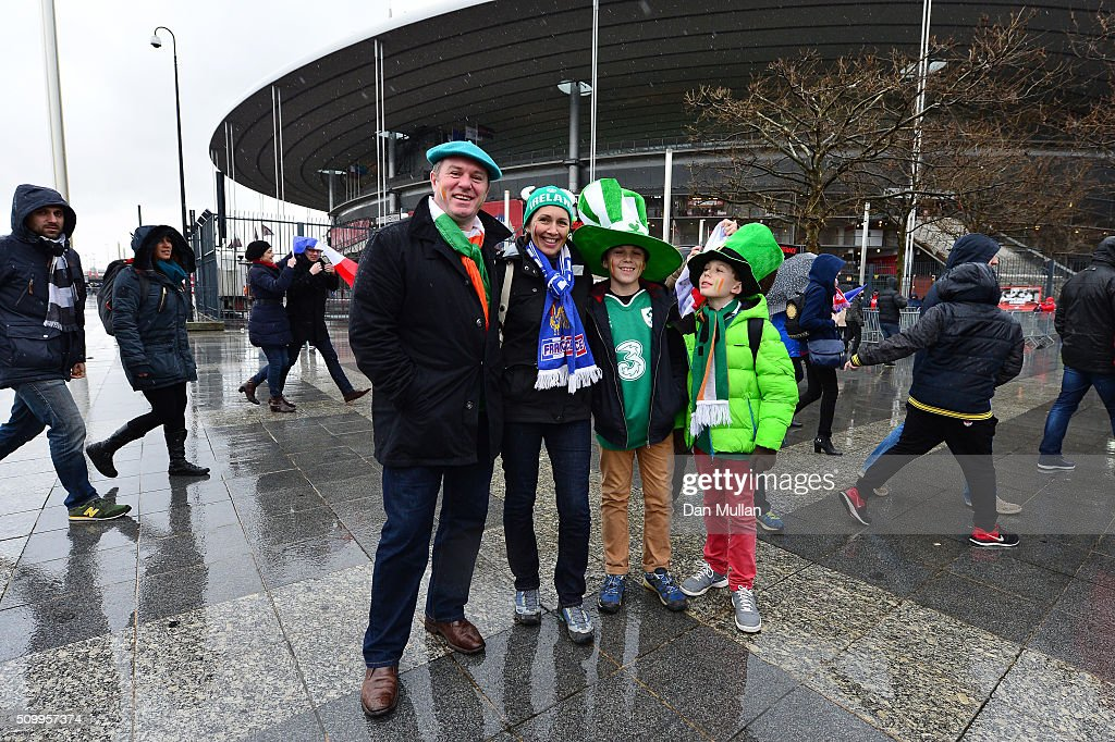 Ireland fans enjoy the atmosphere prior to kickoff during the RBS Six Nations match between France and Ireland at the Stade de France on February 13, 2016 in Paris, France.
