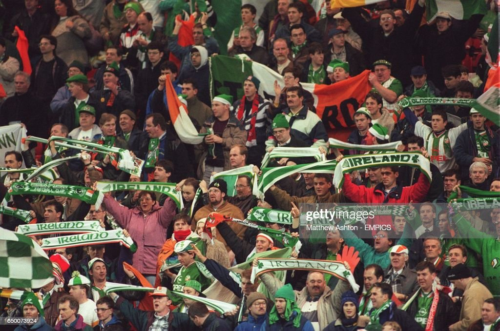 Ireland fans on the kop at Anfield sing 'you'll never walk alone'