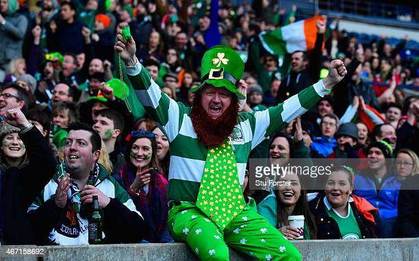 Ireland fans react as they watch the England v France game on the big screen after the RBS Six Nations match between Scotland and Ireland at...