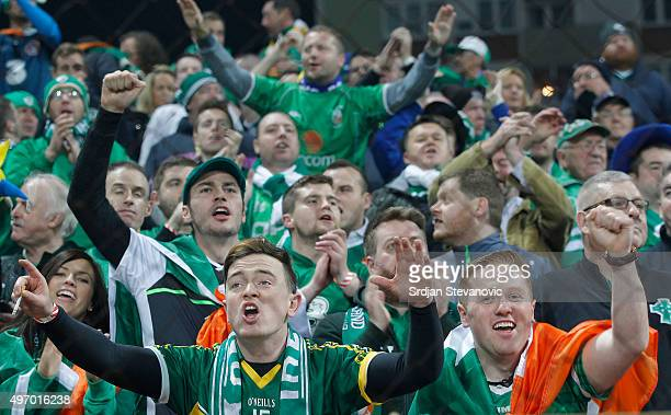 HERZEGOVINA NOVEMBER 13 Ireland fans show their support prior the EURO 2016 Qualifier PlayOff First Leg match at Bilino Polje Stadium on November 13...