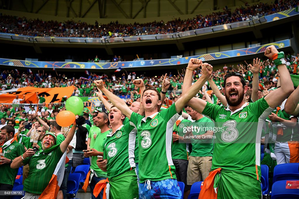 Ireland fans show their support prior to the UEFA EURO 2016 round of 16 match between France and Republic of Ireland at Stade des Lumieres on June 26, 2016 in Lyon, France.