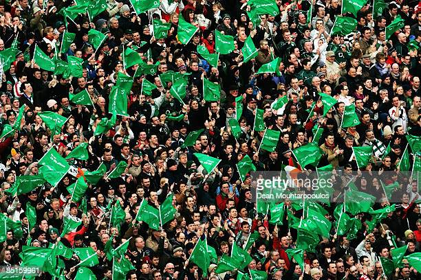 Ireland fans wave flags prior to the RBS Six Nations match between Ireland and England at Croke Park on February 28 2009 in Dublin Republic of Ireland