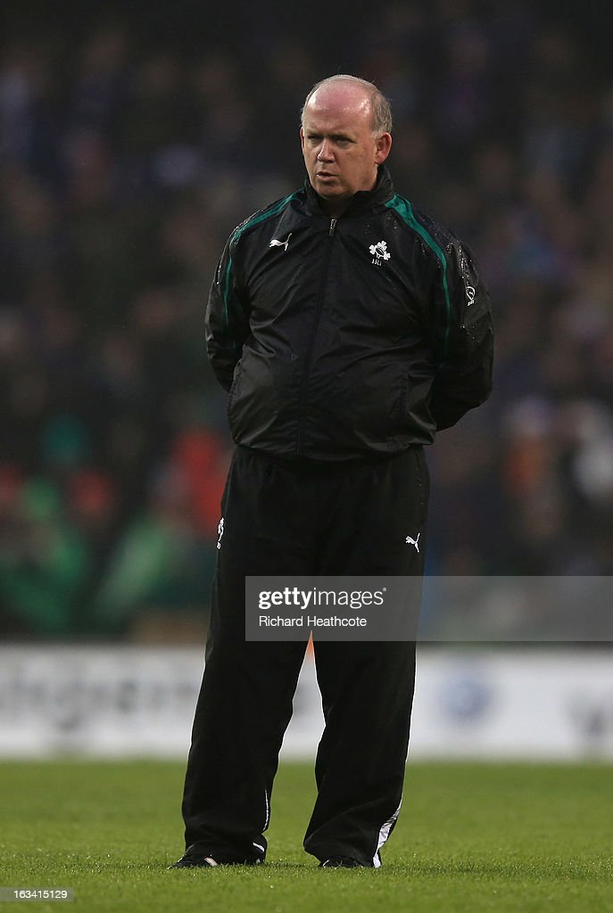 Ireland head coach <a gi-track='captionPersonalityLinkClicked' href=/galleries/search?phrase=Declan+Kidney&family=editorial&specificpeople=626890 ng-click='$event.stopPropagation()'>Declan Kidney</a> looks on as the teams warm up during the RBS Six Nations match between Ireland and France at Aviva Stadium on March 9, 2013 in Dublin, Ireland.