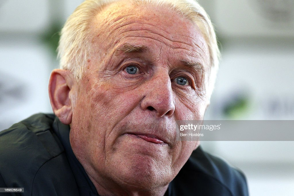 Ireland head coach <a gi-track='captionPersonalityLinkClicked' href=/galleries/search?phrase=Giovanni+Trapattoni&family=editorial&specificpeople=209002 ng-click='$event.stopPropagation()'>Giovanni Trapattoni</a> looks on during a press conference at an Ireland training session at Watford FC Training Ground on May 26, 2013 near St Albans, London Colney, England.