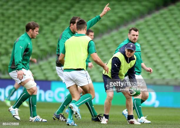Ireland head coach Joe Schmidt with players Sean O'Brien and Cian Healy during the captain's run at the Aviva Stadium Dublin