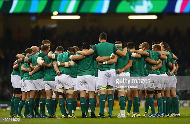Ireland huddle after the warm up prior to the 2015 Rugby World Cup Pool D match between France and Ireland at Millennium Stadium on October 11 2015...