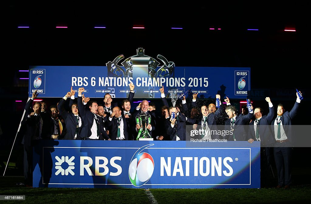 Ireland lift the Six Nations trophy after the RBS Six Nations match between Scotland and Ireland at Murrayfield on March 21 2015 in Edinburgh Scotland