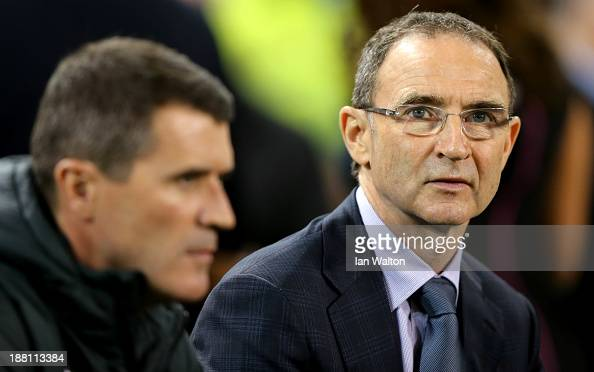 Ireland manager Martin O'Neill and Assistant manager Roy Keane during the International Friendly match between Republic of Ireland and Latvia at...