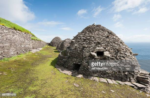 Beehive Huts on the Island of Skellig Michael off the Coast of Kerry.