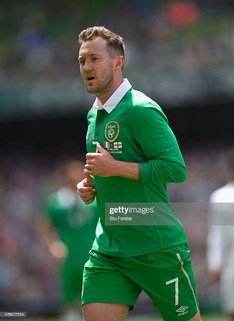 Ireland player <a gi-track='captionPersonalityLinkClicked' href=/galleries/search?phrase=Aiden+McGeady&family=editorial&specificpeople=713430 ng-click='$event.stopPropagation()'>Aiden McGeady</a> in action during the International friendly match between Republic of Ireland and England at Aviva Stadium on June 7, 2015 in Dublin, Ireland.
