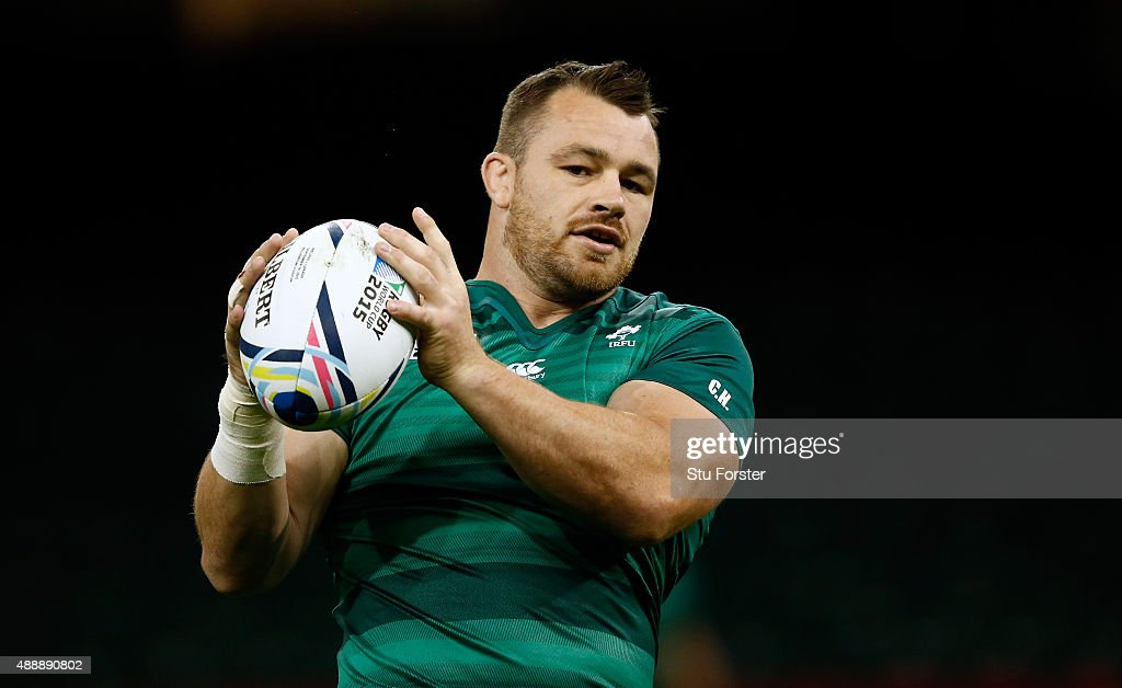 Ireland player <a gi-track='captionPersonalityLinkClicked' href=/galleries/search?phrase=Cian+Healy&family=editorial&specificpeople=4166531 ng-click='$event.stopPropagation()'>Cian Healy</a> in action during Ireland Captains Run ahead of their opening 2015 Rugby World Cup match against Canada at Millennium Stadium on September 18, 2015 in Cardiff, Wales.
