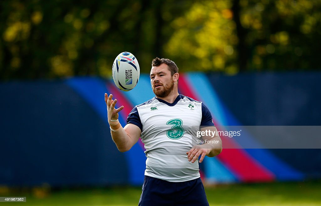 Ireland player <a gi-track='captionPersonalityLinkClicked' href=/galleries/search?phrase=Cian+Healy&family=editorial&specificpeople=4166531 ng-click='$event.stopPropagation()'>Cian Healy</a> in action during Ireland training ahead of their final group match against France, at Newport High school on October 9, 2015 in Newport, Wales.