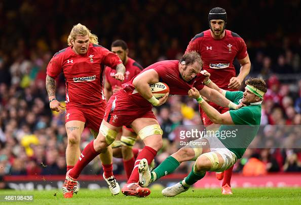 Ireland player Jamie Heaslip gets to grips with Alun Wyn Jones of Wales during the RBS Six Nations match between Wales and Ireland at Millennium...