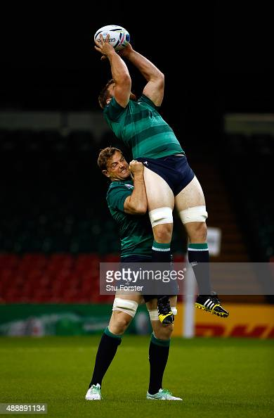 Ireland player Jamie Heaslip gives Sean O'Brien a lift during Ireland Captains Run ahead of their opening 2015 Rugby World Cup match against Canada...