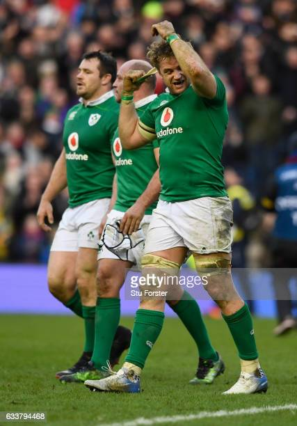 Ireland player Jamie Heaslip reacts during the RBS Six Nations match between Scotland and Ireland at Murrayfield Stadium on February 4 2017 in...