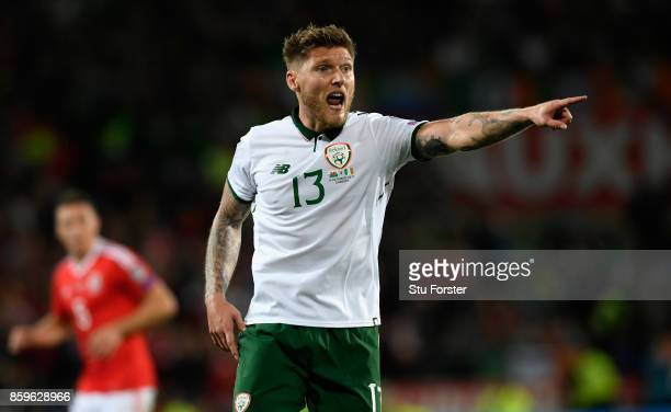 Ireland player Jeff Hendrick reacts during the FIFA 2018 World Cup Qualifier between Wales and Republic of Ireland at Cardiff City Stadium on October...