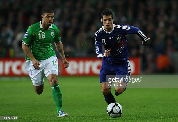 Ireland player Leon Best chases France player Yoann Gourcuff during the FIFA 2010 World Cup Qualifier play off first leg between Republic of Ireland...