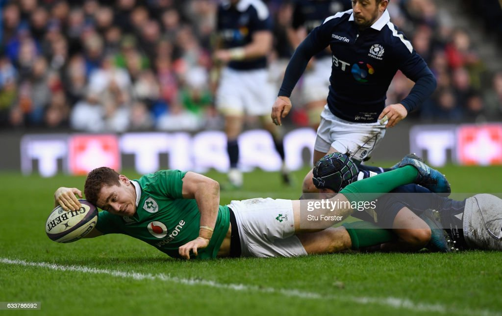 Ireland player Paddy Jackson dives over to score during the RBS Six Nations match between Scotland and Ireland at Murrayfield Stadium on February 4, 2017 in Edinburgh, Scotland.