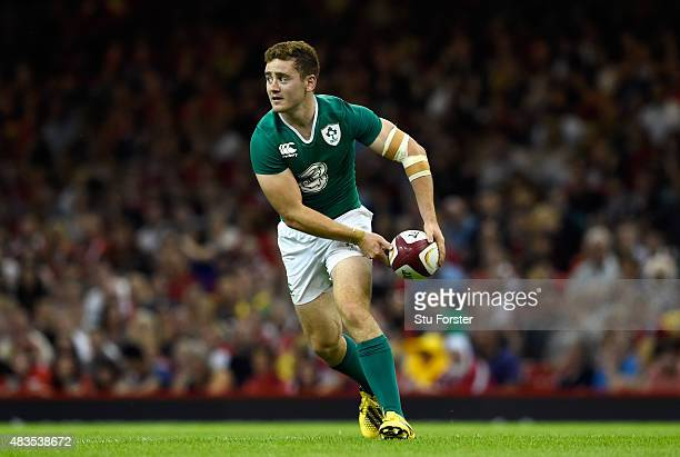 Ireland player Paddy Jackson in action during the Rugby World Cup warm up match between Wales and Ireland at Millennium Stadium on August 8 2015 in...