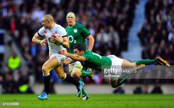 Ireland player Rob Kearney fails to halt England fullback Mike Brown from making a break to set up the winning try during the RBS Six Nations match...