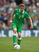 Ireland player Seamus Coleman in action during the International friendly match between Republic of Ireland and England at Aviva Stadium on June 7...