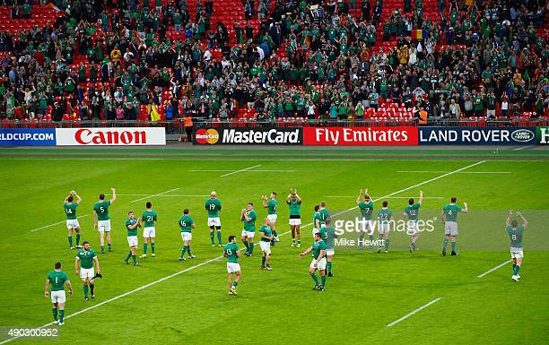 Ireland players applaud the crowd after victory in the 2015 Rugby World Cup Pool D match between Ireland and Romania at Wembley Stadium on September...
