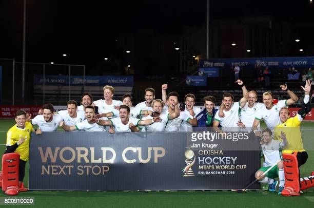 Ireland players celebrate World Cup qualification after victory during day 8 of the FIH Hockey World League Men's Semi Finals 5th/ 6th place match...