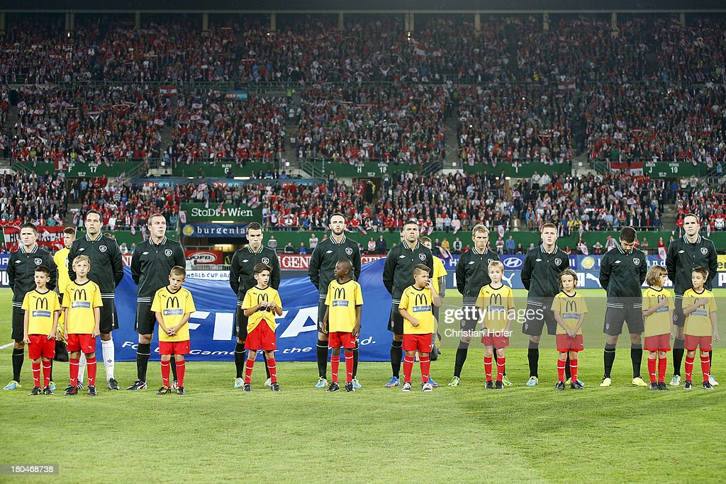 Ireland players line up during the national anthem prior to the FIFA World Cup 2014 Group C qualification match between Austria and the Republic of Ireland at the Ernst Happel Stadium on September 10, 2013 in Vienna, Austria.