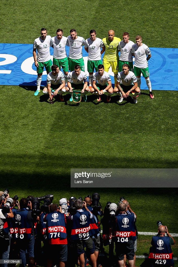 Ireland players line up for the team photos prior to the UEFA EURO 2016 round of 16 match between France and Republic of Ireland at Stade des Lumieres on June 26, 2016 in Lyon, France.