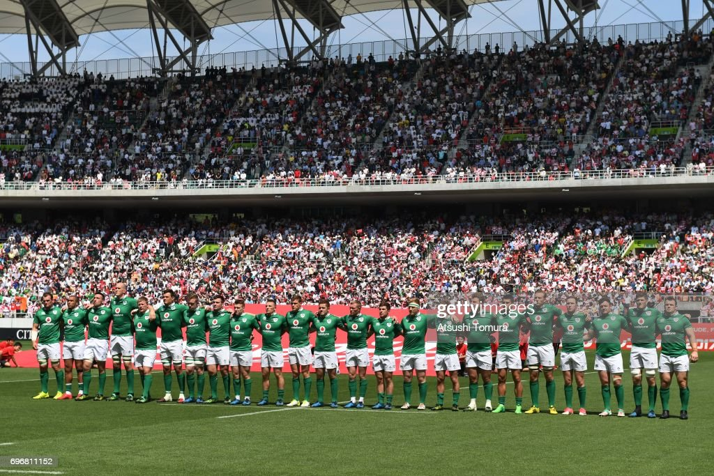 Ireland players line up on the pitch during the international rugby friendly match between Japan and Ireland at Shizuoka Stadium on June 17, 2017 in Fukuroi, Japan.