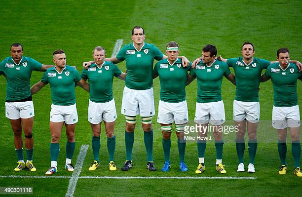 Ireland players line up prior to the 2015 Rugby World Cup Pool D match between Ireland and Romania at Wembley Stadium on September 27 2015 in London...