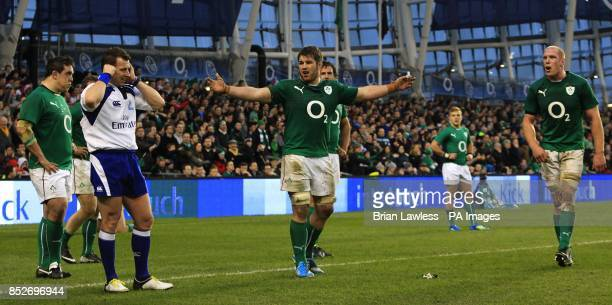 Ireland players Sean O'Brien and Paul O'Connell await the decision from referee Nigel Owens in the final minute during the Guinness Series match at...