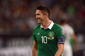 Ireland 's Robbie Keane reacts during the UEFA Euro 2016 Group D qualifying football match Germany vs Republic of Ireland in Gelsenkirchen western...