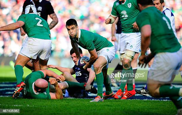Ireland scrum half Conor Murray in action during the RBS Six Nations match between Scotland and Ireland at Murrayfield Stadium on March 21 2015 in...
