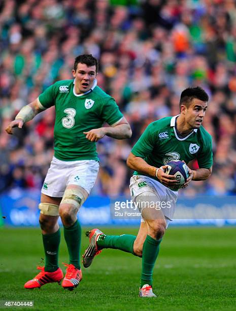 Ireland scrum half Conor Murray makes a break during the RBS Six Nations match between Scotland and Ireland at Murrayfield Stadium on March 21 2015...