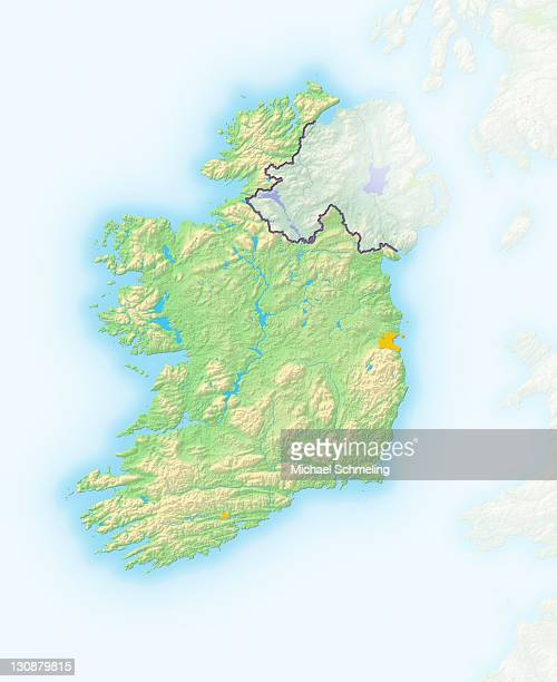 Ireland, shaded relief map