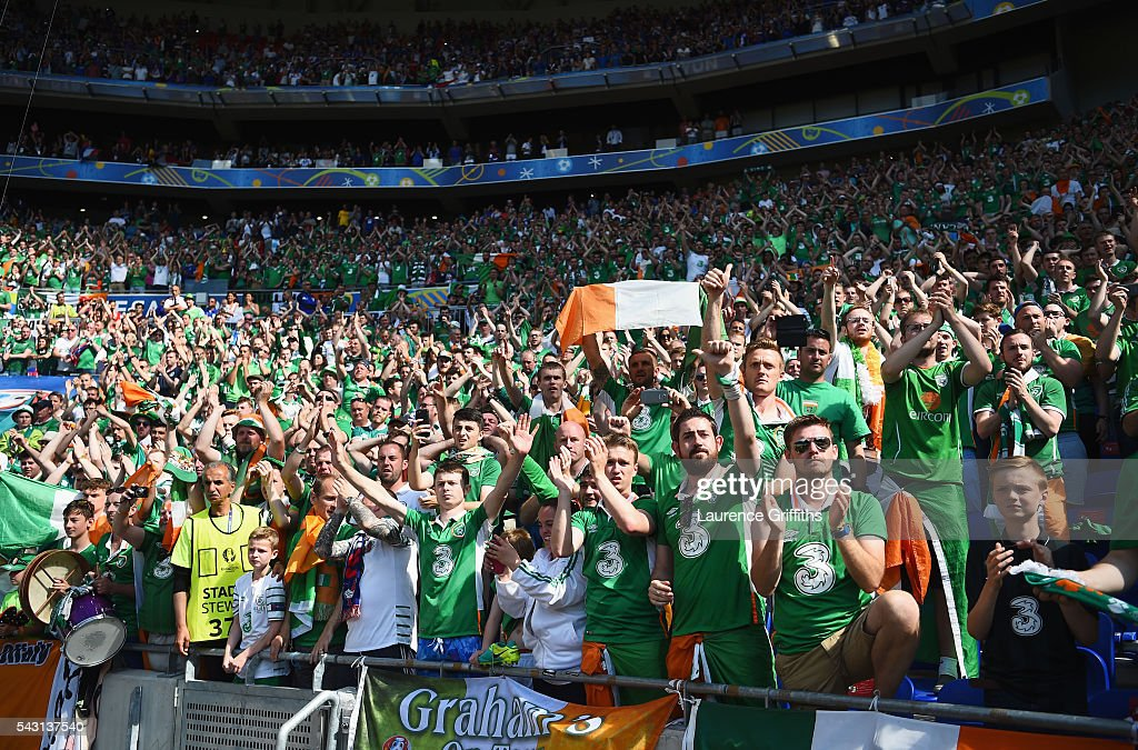 Ireland supporters applaud their player after the UEFA EURO 2016 round of 16 match between France and Republic of Ireland at Stade des Lumieres on June 26, 2016 in Lyon, France.