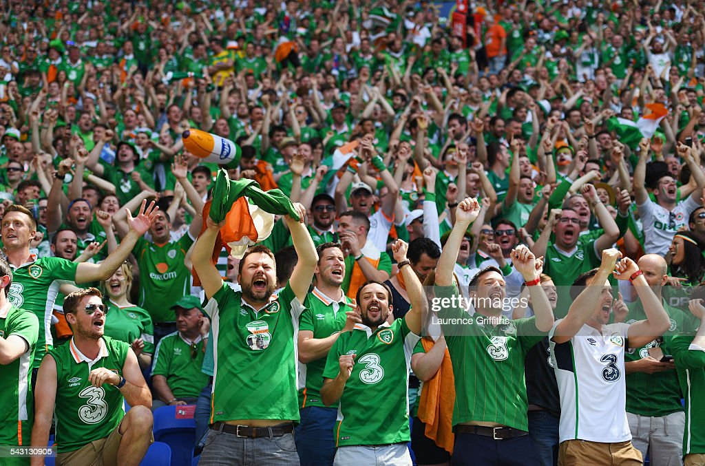 Ireland supporters cheer during the UEFA EURO 2016 round of 16 match between France and Republic of Ireland at Stade des Lumieres on June 26, 2016 in Lyon, France.