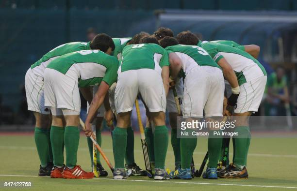 Ireland team huddle during the FIH Olympic Games Qualifying Tournament at the Belfield Dublin PRESS ASSOCIATION Photo Picture date Thursday March 15...