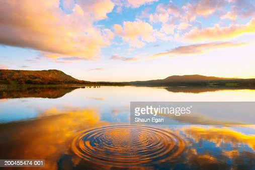 Ireland, Ulster, County Donegal, Mulroy bay, splash in tranquil water