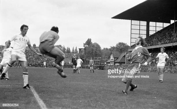 Ireland v Russia football match at Lansdowne Road Stadium in Dublin circa October 1972