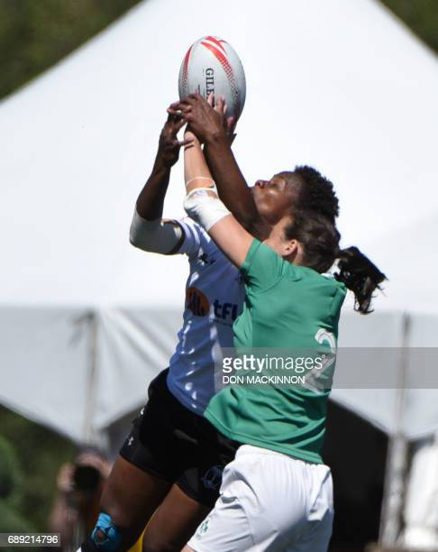 Ireland vs Fiji in HSBC Canada Women's Sevens Rugby action at Westhills Stadium in Langford BC May 27 2017 / AFP PHOTO / Don MacKinnon